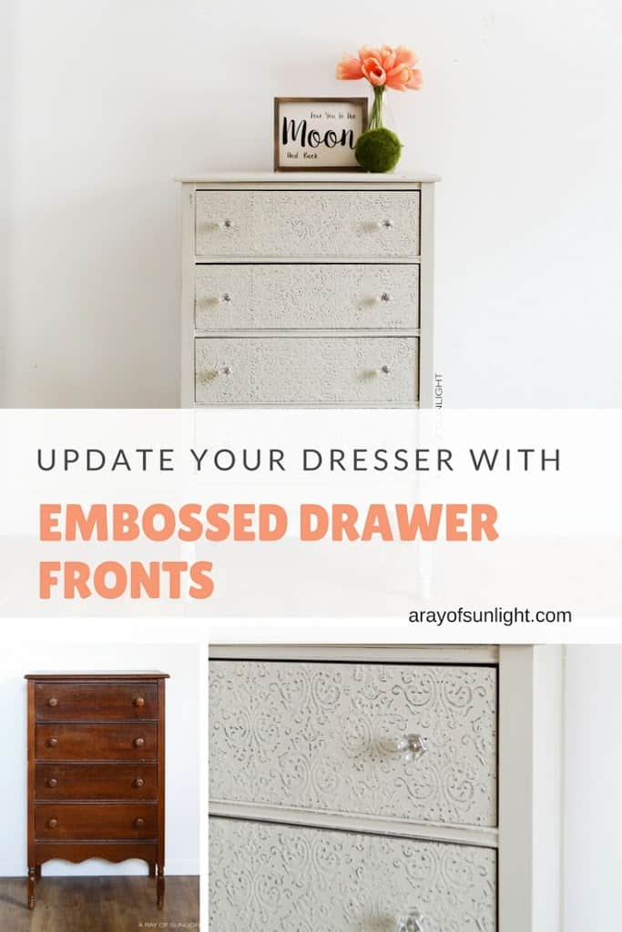 How adorable! This antique dresser was updated with raised embossing, country chic paint and a light grey paint. Heavy distressing gives it a farmhouse feel. Learn how to get this specialty finish at A Ray of Sunlight #paintedfurniture #vintagefurniture