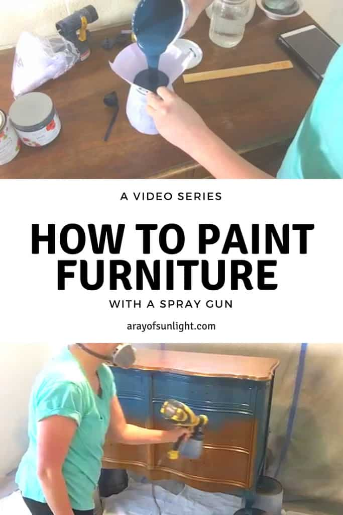 A complete 3 video series with all the tips, tricks and supplies to painting furniture with a spray gun, from start to finish. Including prep, using a paint sprayer for chalk paint & poly and refinishing hardware. By A Ray of Sunlight #furnituremakeover #paintedfurniture #furnituretutorials # vintagefurniture #frenchprovincial #painteddresser