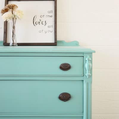 A Teal Summer Dragonfly Painted Tall Dresser