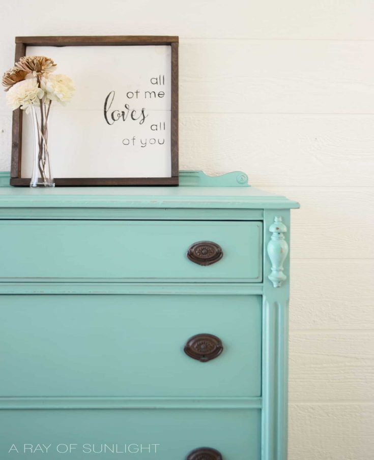 Teal Highboy Dresser with Dark Stained Legs