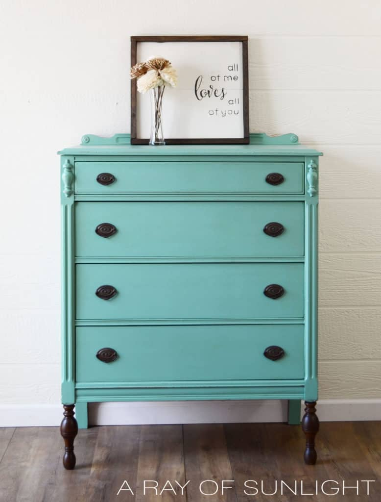 Full View of Teal Dresser