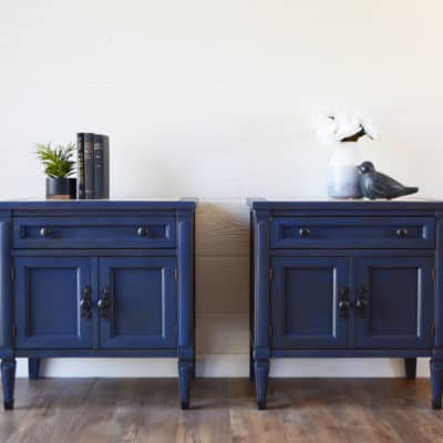 Antique Blue Nightstands in Midnight Sky Country Chic Paint with Dark Roast Glaze By A Ray of Sunlight