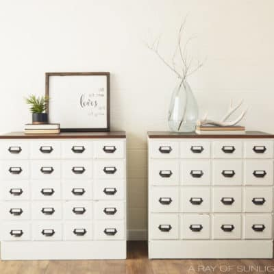 DIY Card Catalog Dresser Makeover