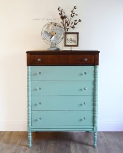 Vintage Highboy Dresser painted in Country Chic Paint with a Stained Dipped Top and Crystal Knobs by A Ray of Sunlight