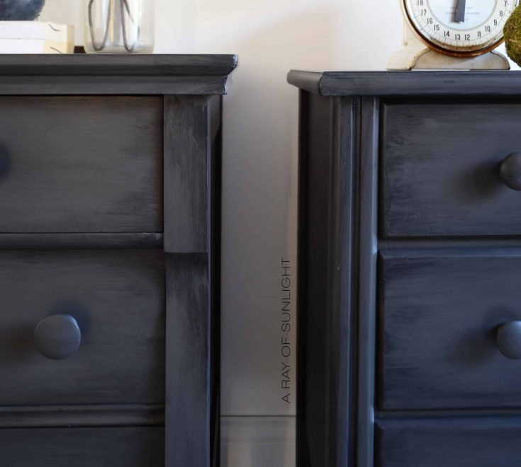His and Hers Mismatched Nightstands in Deep Grey