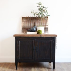 Small Rustic Cabinet Makeover in County Chic Paint Liquorice | This cabinet used to have a broken marble top. We replaced it with a think wood planked top to create a rustic feel. By A Ray of Sunlight