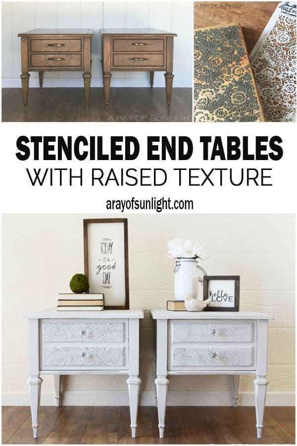 DIY Stenciled Shabby Chic Farmhouse Nightstands with a Raised Texture by A Ray of Sunlight