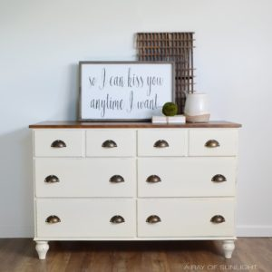 Cream Farmhouse Dresser with Rustic Brass Hardware by A Ray of Sunlight