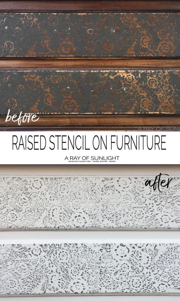 Create a lace stencil on drawer fronts with this raised texture powder, paint and a stencil. An easy way to give your old furniture a makeover! by A Ray of Sunlight