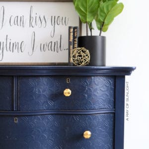 Navy Blue Antique Serpentine Dresser with Embossed Drawers and Gold Geometric Knobs - Painted in Country Chic Paint's Peacoat with Texture Powder and Dark Roast