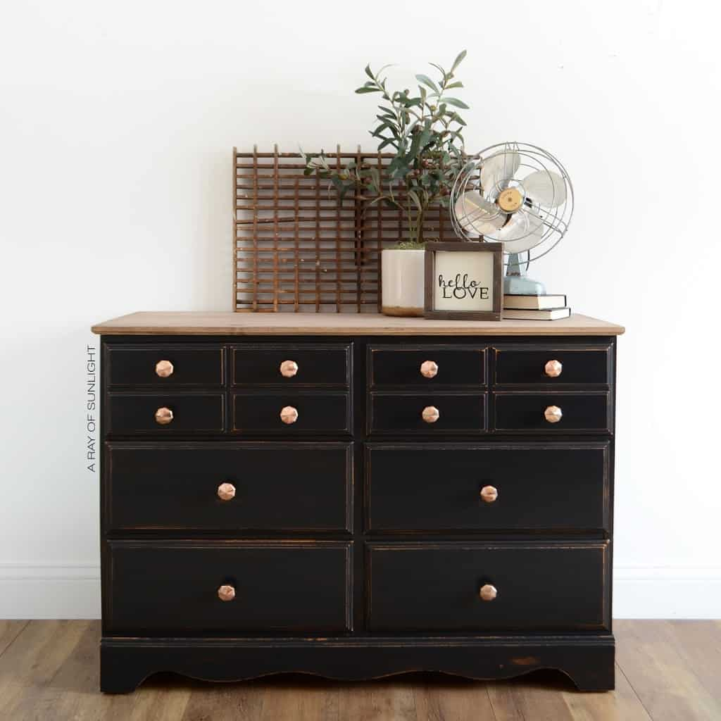 Black Vintage Dresser with Gold Hexagon Knobs | The complete makeover and how to create a wood top for your dresser by A Ray of Sunlight