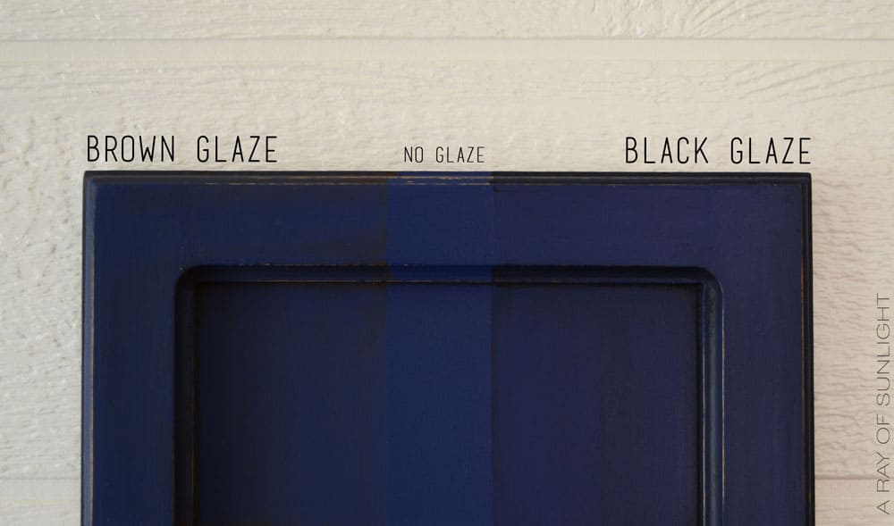 how brown glaze and black glaze look over blue paint