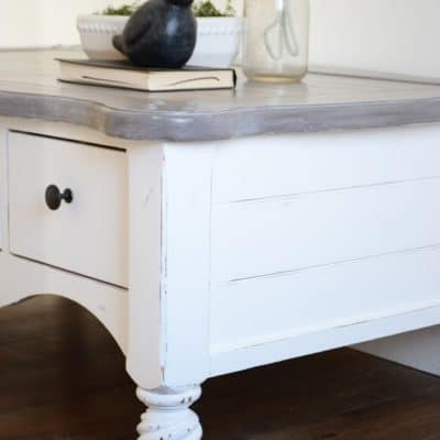 The Shiplap Coffee Table with a Painted Weathered Wood Top