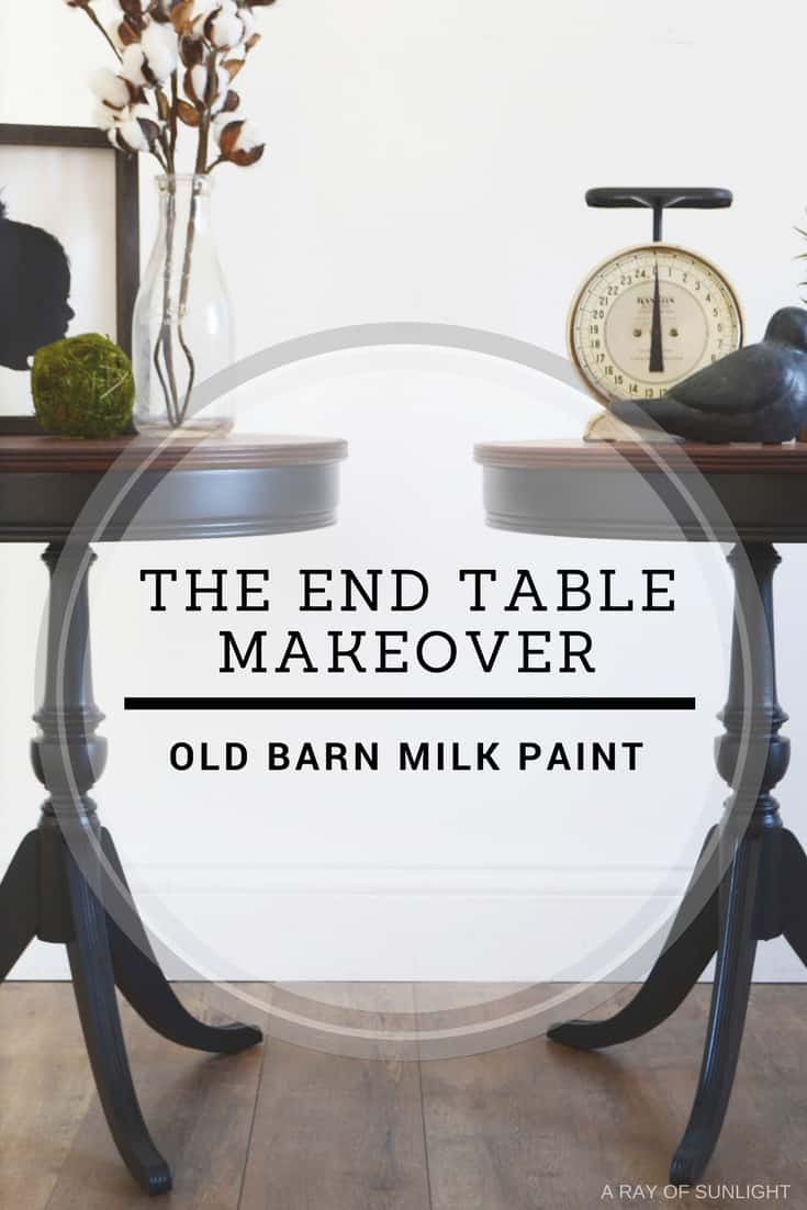 Pair of Matching Black Antique Drum Tables in Old Barn Milk Paint by A Ray of Sunlight #milkpaint #furnituremakeover #blackfurniture #homedecor #diy #paintedfurniture