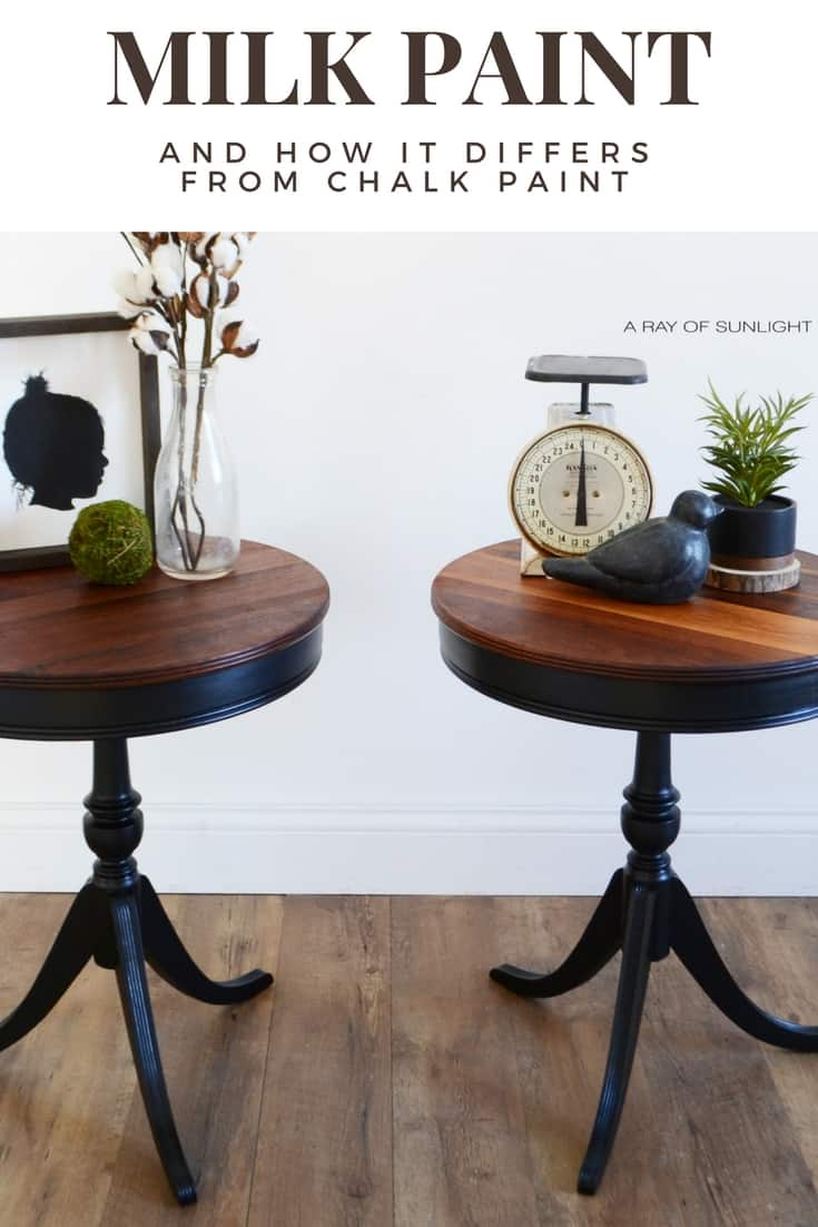 natural wood and black painted drum tables