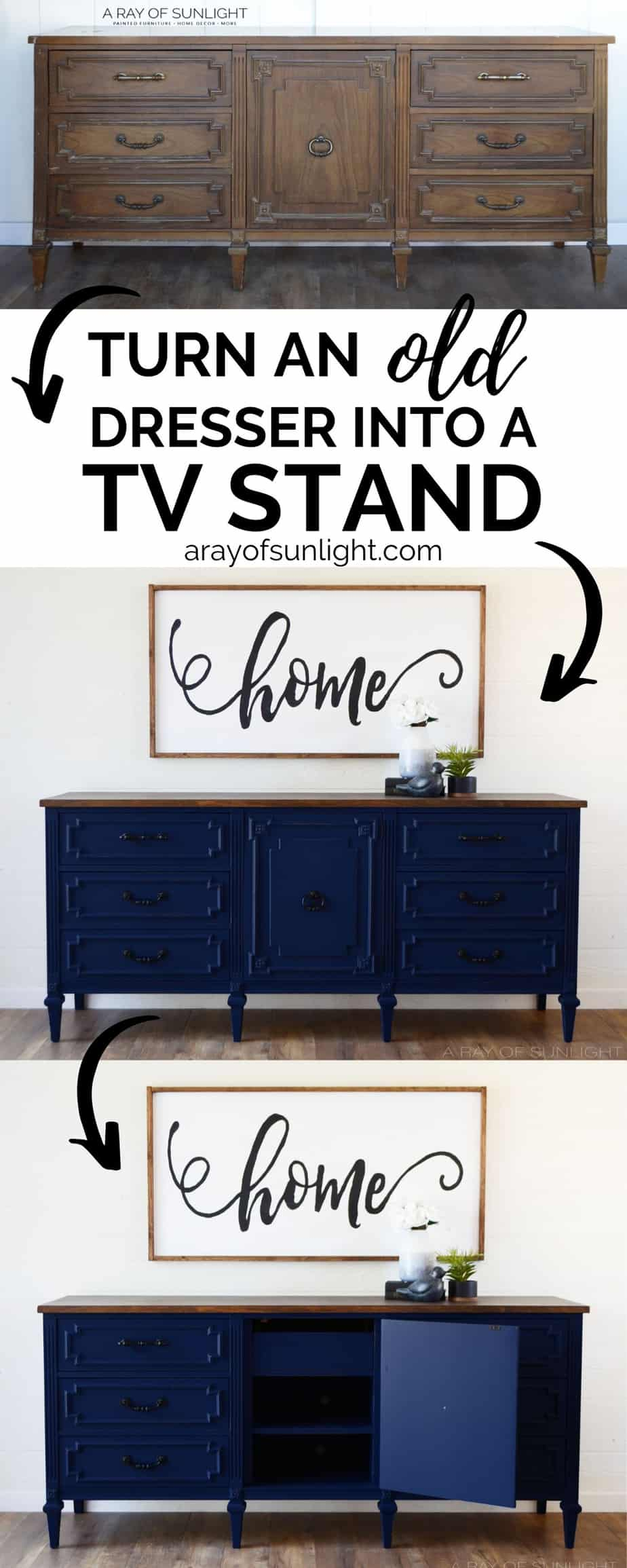 """Turn an old dresser into a tv stand"" infographic"
