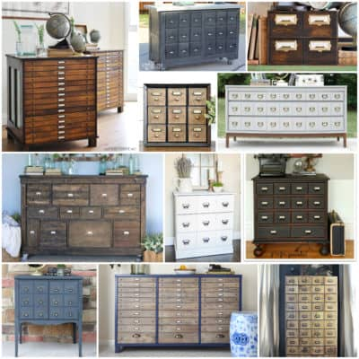 30 Amazing Faux Card Catalog Makeovers | I've scoured the web to bring you the best faux card catalog makeovers out there! Some are completely from scratch, some have been completely overhauled, and others have been changed just a little to create that apothecary style we love at A Ray of Sunlight #cardcatalog #Vintage #DIY