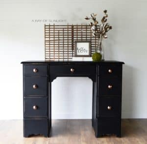 Black Farmhouse Small Desk with Rose Gold Knobs Painted by A Ray of Sunlight