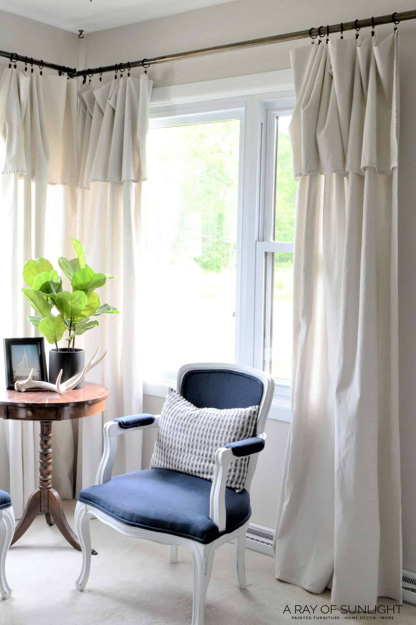 Drop Cloth Curtains in the Living Room