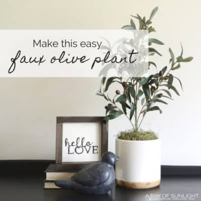 DIY Olive Tree Potted Plant | A quick farmhouse craft to update your decor on a budget. This same idea can be used to make so many different kinds of topiary plants! Quick and easy! arayofsunlight.com #farmhousedecor #budgetdecor