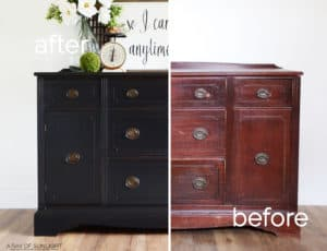 Five Furniture Makeover Mistakes to Avoid by A Ray of Sunlight | The Weathered Black Restoration Hardware Inspired Vintage Painted Buffet that was almost a furniture transformation fail!