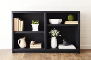 90's Oak Bookcase Refinished in Black Farmhouse Modern Shelf by A Ray of Sunlight