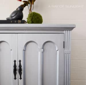 Aged Pewter Metallic Custom Refinished Cabinet with Black Hardware and Added Legs By A Ray of Sunlight