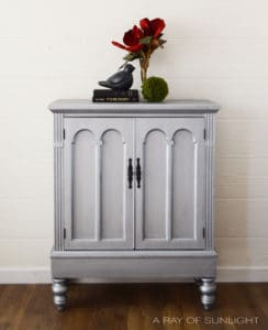 Aged Pewter Metallic Refinished Cabinet with Black Hardware and Added Legs By A Ray of Sunlight