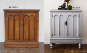 Aged Pewter Vintage Cabinet Before and After
