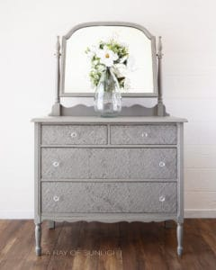 Antique 4 Drawer Dresser in General Finishes Empire Gray Paint Texture Powder Country Chic Paint Dark Roast Embossed Drawers by A Ray of Sunlight