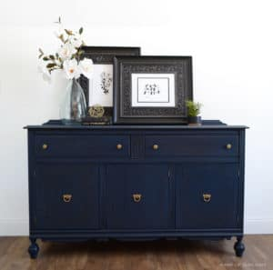 Antique Buffet with Legs in Antiqued Navy Blue with Gold Hardware and details
