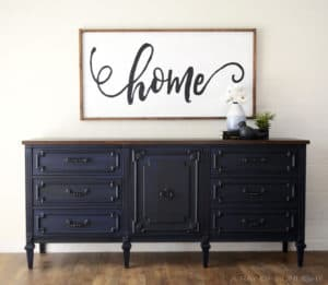 Antique Midnight Blue Dresser Transformed into a Media Console by Removing Drawers by A Ray of Sunlight