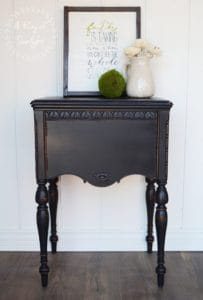 Antique Ornate Sewing Desk Cabinet Painted Black and Distressed by A Ray of Sunlight - Copy