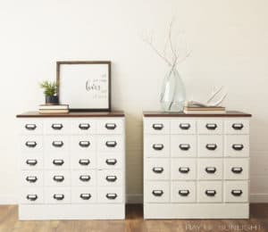 Apothecary Nightstands Faux Card Catalog Style by A Ray of Sunlight