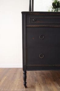 Black Antique 4 Drawer Dresser Refinished by A Ray of Sunlight