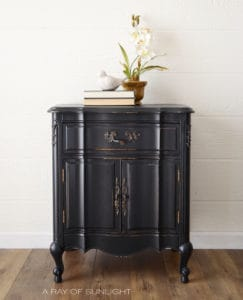 Black French Provincial Nightstand End Table by A Ray of Sunlight