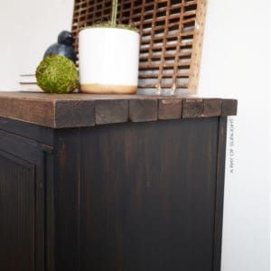 Black Rustic End Table in Country Chic Liquorice and Hemp Oil with Chunky Dark Walnut Wood Top by A Ray of Sunlight