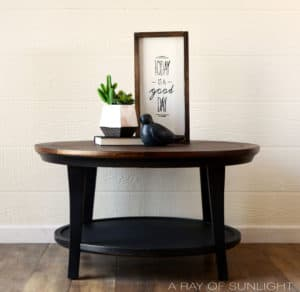 Black Two Tone Round Coffee Table with Dark Walnut Stained Top by A Ray of Sunlight