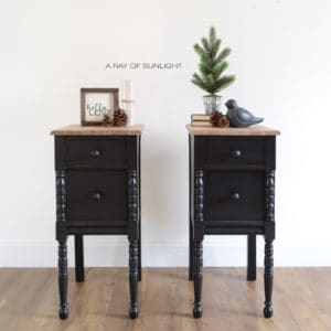 Black Vintage Farmhouse Nightstands with Rustic Wood Tops by A Ray of Sunlight