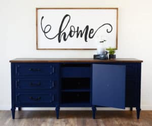 Blue Dresser Transformed into a Media Console by Removing Drawers by A Ray of Sunlight