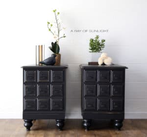 Card Catalog Apothecary Matching Nightstands in Liquorice Black Country Chic Paint by A Ray of Sunlight