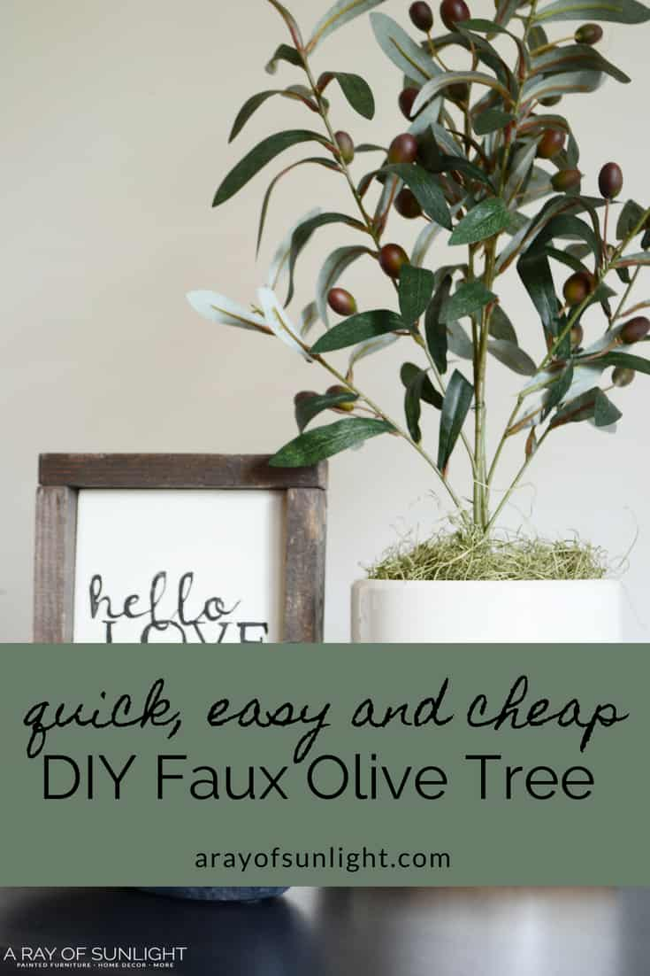 DIY Faux Olive Tree Plant | A quick farmhouse craft to update your decor on a budget. This same idea can be used to make so many different kinds of topiary plants! Quick and easy! arayofsunlight.com #farmhousedecor #budgetdecor