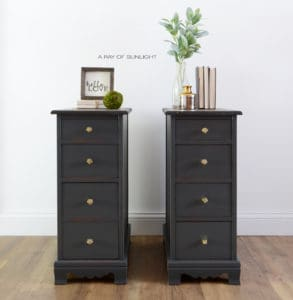 Antique Desk Turned into Tall Bedside Tables or Nightstands - Painted Grey with Gold Knobs by A Ray of Sunlight