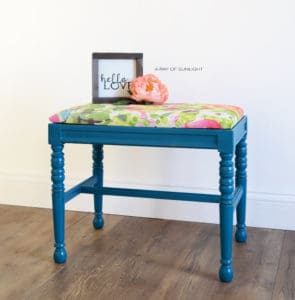 Bright Blue Vanity Stool or Entry Way Bench with pink and green floral print by A Ray of Sunlight
