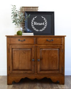 Dark Walnut Ethan Allen Buffet or Entry Table with Rustic Traditional Hardware by A Ray of Sunlight