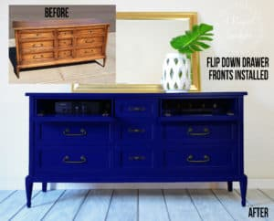 Vintage Dresser Makeover into a Media Console with Opening Drawr Fronts by A Ray of Sunlight