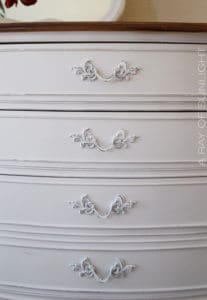 White French Provincial Dresser in Chalk Paint with White Chalk Painted Hardware by A Ray of Sunlight