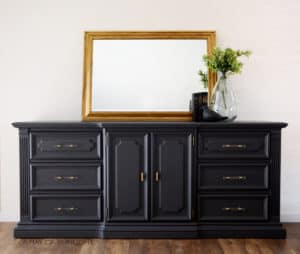 Deep Grey Large Dresser with Gold and Glass Hardware Refinished by A Ray of Sunlight