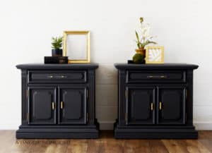 Deep Grey Matching Nightstands with Gold and Glass Hardware Refinished by A Ray of Sunlight