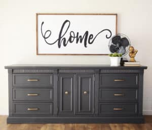 Deep Grey Vintage Modern Farmhouse Dresser with Brass Hardware and Vintage Decor by A Ray of Sunlight